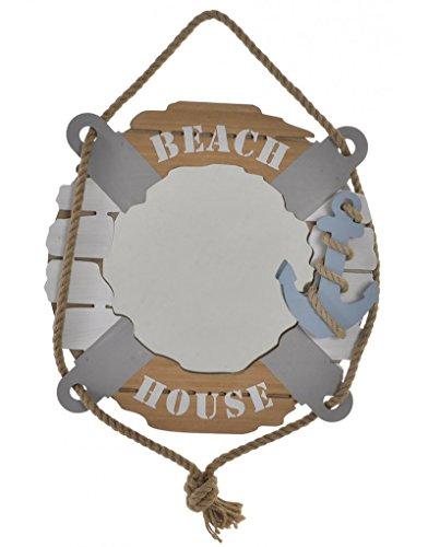 Hogar y Mas Wandspiegel in Form eines rettungsring aus Holz. Design-Navy, 40 x 40 cm - Haus und mehr