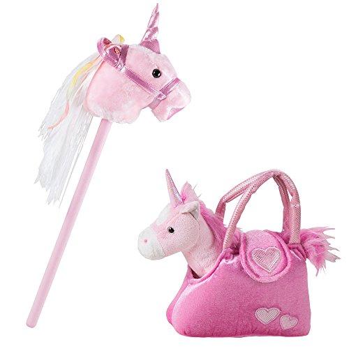 BHP 2er Set Stecken Pferd Mädchen Einhorn Kuschel Stoff Tier Sound Effekt Plüsch Tasche SMILE rosa