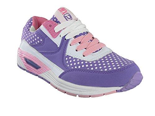 New Girls Quecksilber Casual Lace Up Dolly Sport Sneaker gepolstert, Größe 34 Inklusive Versand Violett