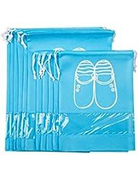 Aveson Lot de 10Portable protégé contre la poussière respirant de voyage Sacs à chaussures pour bottes, Haut Talon –-Cordon de serrage, fenêtre transparente, économiser de l'espace Sacs de rangement, 5grands + 5Medium Taille, bleu