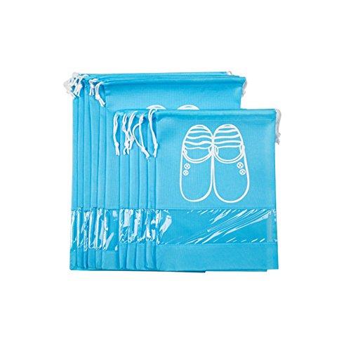 aveson 10Stück tragbar Staubdicht Atmungsaktiv Travel Schuh Organizer Taschen für Stiefel, High Heel –-Kordelzug, transparentes Fenster, platzsparende Aufbewahrung Taschen, 5große + 5Medium Größe, blau (Kordelzug Heels)