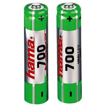 Galleria fotografica Hama NiMH 2x AAA 700mAh 1.2V Nickel Metal Hydride 700mAh 1.2V rechargeable battery - rechargeable batteries (700 mAh, Nickel Metal Hydride, AAA, 1.2 V, Green, 2)