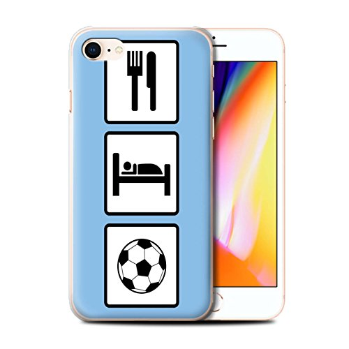 Stuff4 Hülle / Case für Apple iPhone 8 / Fußball/Blau Muster / Essen/Schlaf Kollektion Fußball/Blau