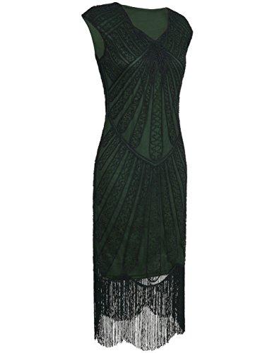 kayamiya Damen Retro 1920er Jahre Inspirert Perlen Art Deco Franse Flapper Kleid XL Gr¨¹n