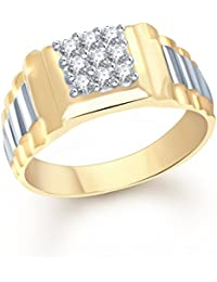 VK Jewels Fine Design Gold and Rhodium Plated (CZ) Ring - FR1101G [VKFR1101G]
