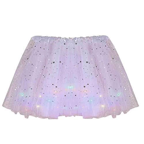 Lazzboy Tüll Rock Frauen Sterne Pailletten Mesh Plissee Prinzessin Rock mit LED kleine Birne (Schwarz,M)(T-Weiß,M)