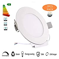 20W Flat LED 2PCS Panel Light Lamp, Dimmable Round Ultrathin LED Recessed Downlight,Cool White Panel Ceiling Lighting with LED Driver