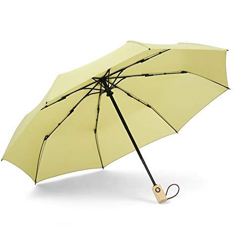 RUNXIAN Regenschirm-Automatikschirm Einfache Fest Farbe Kreative Massivholz-Retro Männer und Frauen Regenschirm (Color : Green) -