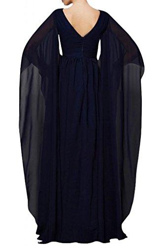 Toscana sposa scollo a V chiffon sera vestiti prom abiti sposa madre festa ball abiti lungo con lungo ampio maniche rosso vivo