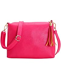 Owill Fashion Women Girls Tassel Leather Bag Solid Sweet Colour Crossbody Shoulder Messenger Bags (Hot Pink)