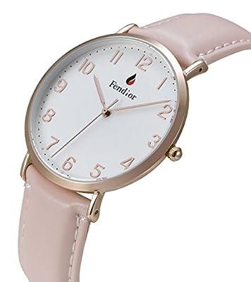 DMwatch Mujer Reloj Rosa Cuero Banda de Reloj del Rosa Dorado Bisel Blanco Superficie 3ATM Resistencia al agua Elegante Pantalla Analógica Cuarzo Reloj de Pulsera