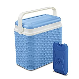 ADRIATIC 10 Litre Cooler Rattan Design Box Camping Beach Lunch Picnic Insulated Food + 1 Ice Pack