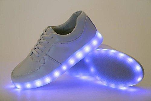2016quattro stagioni scarpe scarpe casual uomo e donna luminoso LED, 2colori eu 35–46 White