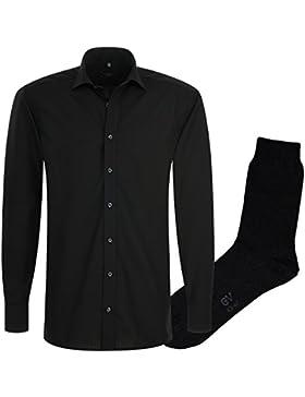ETERNA Herrenhemd Modern Fit, schwarz, Popeline+ 1 Paar hochwertige Socken, Bundle