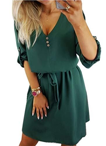 ZIYYOOHY Damen Casual Blusenkleid Chiffon Button V-Ausschnitt 3/4 Ärmel Freizeit Mini Sommerkleid Mit Gürtel (38, Armee grün)
