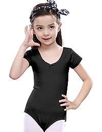 Feoya - Maillot Ballet Gimnasia Estirable Leotardo Gimnasia Mangas Cortas Clásica Algodón para Niñas 3 a 9 Años