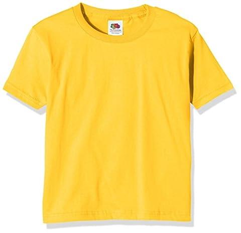 Fruit of the Loom Ss124b, T-Shirt Garçon, Jaune - Yellow (Sunflower Yellow), 7-8 ans