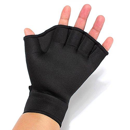TENGGO Fingers Bade Handschuhe Frosch Schwimm Handschuhe Fitness Training Handschuhe-Schwarz-S