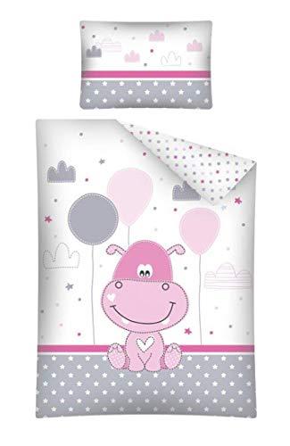 Baby Bettwäsche Set 2tlg. 100% Baumwolle Größe: 100x135 cm, 40x60 cm, ÖkoTex Standard 100 (Nilpferd Stars Rosa)
