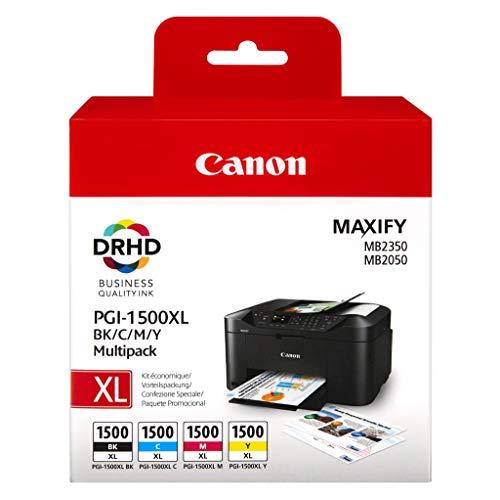 Canon PGI-1500XL 4 original Tintenpatrone (Multipack XL/CianXL/MagentaXL/AmarilloXL für Maxify Drucker MB2050-MB2150-MB2155-MB2350-MB2750-MB2755) schwarz -
