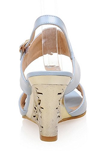 YE Damen Peep Toes High Heels Wedge Keilabsatz Slingback Riemchen Sommer Sandalen Schuhe Blau