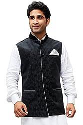 Vastramay Mens Velvet Nehru Jackets (Black_VASMJBL014_36)