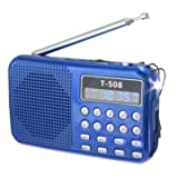#3: T508 LED Stereo FM Radio Speaker USB TF Card MP3 Music Player (blue)
