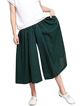 ADELINA Pantalones Palazzo Mujer Verano Fashion Anchas Culotte Mujer Vintage Elegantes Pantalones Falda Color...