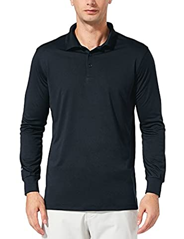 Baleaf Men's UPF 30+ Long Sleeve Golf Performance Polo Shirt