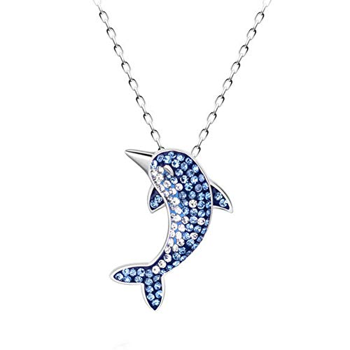 Aivtalk collana con pendenti blu delfino collana strass moda femminile collana regalo san valentino collana in argento sterling s925 - oro bianco