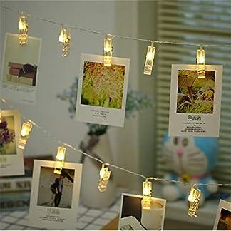Zorara Clip Cadena de Luces LED, 40LEDs 6m Fotoclips Guirnalda de Luces, Guirnalda Luces Pilas para Decoración de Fotos [Clase de eficiencia energética A]