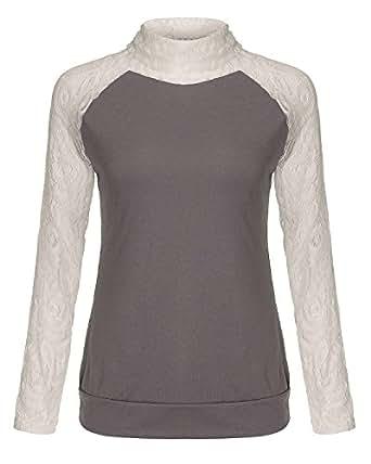 ZANZEA Damen Rollkragen Herbst Pullover Pulli Sweater Langshirt Sweats Oberteil Bluse Top (DE 38/ASIAN L, Grau)