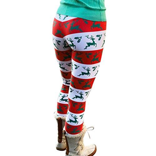 Leggings damen Kolylong® Frauen Stretchy Drucken Weihnachten Leggings Herbst Winter Warm Thermo Leggings Slim Leggings Muster Fitness Yoga Hose Pants (Multicolor, L) -