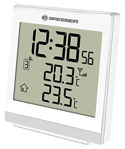 Bresser Funk-Thermometer Temeo SQ mit automatischer Zeitanzeige per Funksignal, LED Hintergrundlicht, Anzeige der Innen- und Außentemperatur mit Weck- und Schlummerfunktion, weiß