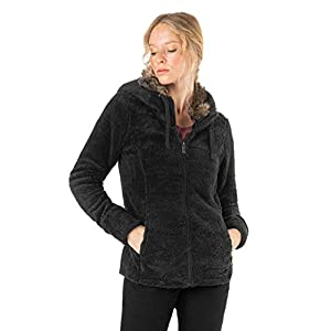 Sublevel Damen Fleece-Jacke mit Kunstfell & Teddy-Fleece