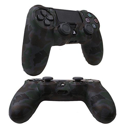 YoRHa Transferencia de agua camuflaje de impresión silicona caso piel Fundas protectores cubierta para Sony PS4/slim/Pro Mando x 1 (gris) Con PRO los puños pulgar thumb gripsx 8