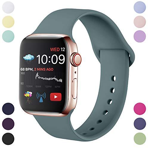 Hamile Correa Compatible con Apple Watch 42mm 44mm, Correa de Repuesto de Silicona Suave para Apple Watch Series 5/4/3/2/1, M/L, Pino Verde