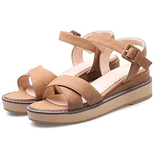 COOLCEPT Damen Mode Knochelriemchen Sandalen Peep Toe Slingback Keilabsatz Schuhe Gelb