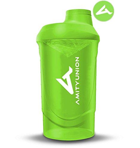 fitne fahrrad AMITYUNION Protein Shaker Grün Deluxe 800 ml - Eiweiß Shaker auslaufsicher - BPA frei mit Sieb & Skala für Cremige Whey Proteinpulver Shakes - Gym Fitness Becher für Isolate und Sport Konzentrate