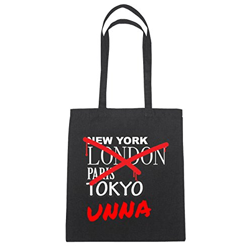 JOllify Unna Borsa di cotone B1052 schwarz: New York, London, Paris, Tokyo schwarz: Graffiti Streetart New York