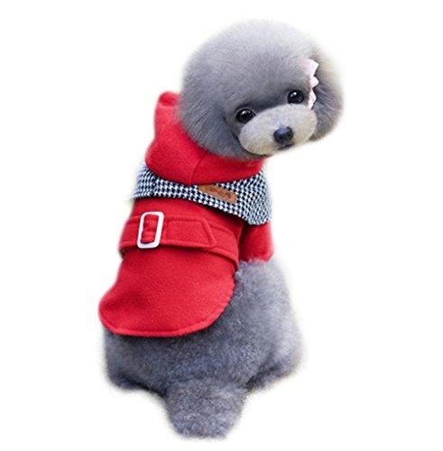 Kostüm Flanell Rote - Joyfeel buy Haustier Kleidung Kostüm Hoodie Rot Flanell Windjacke Hund Pullover Warm Mantel für Winter, Länge 29cm,Büste 42cm,Hals 26cm(L)