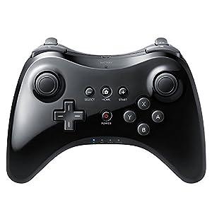 QUMOX Wireless Schwarz Joystick Gamepad Pro Controller für Nintendo Wii U + Kabel