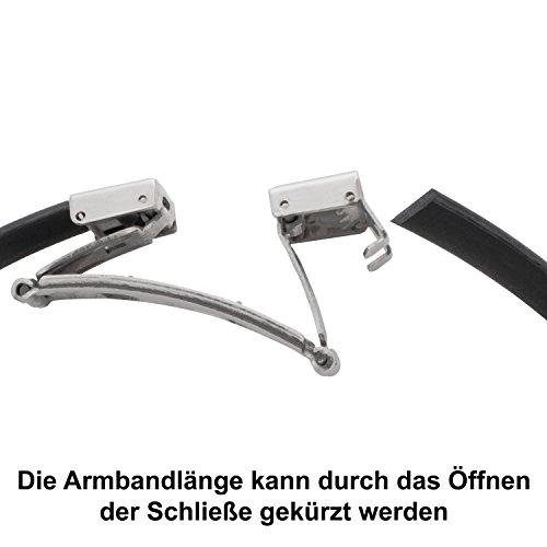 Armband mit Laser-Gravur für Paare Freundschaft 2-teiliges Partner-Set aus Edelstahl und Kautschuk 19 cm Länge kürzbar