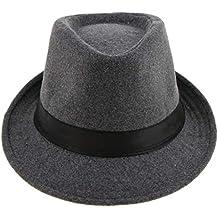 IPOTCH Cappelli di Lana per Uomo Stile Irlandese Vintaje Colore Grigio Con  Nastro Nero e7cd74b5a953