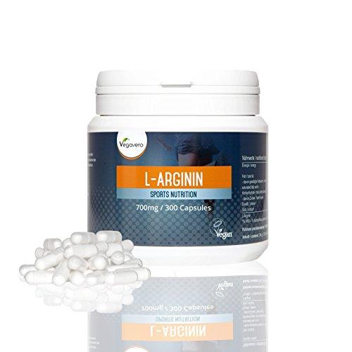 L-Arginine | Pureté 99,7 % | 700 mg | 300 Gélules | Sport - Musculation - Detox | Fortement Dosées |100 % végétales | Zéro Additif | Qualité Vegavero- 100% naturel | Végan | Made in Germany