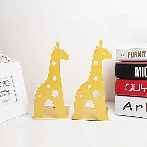 Befitery Kinder Süß 2 Stück Bücherstützen Kreative kinder Eisen Bücher Briefpapier Einfache Tische Kinder Tier bookend (Hirsche, Gelb)