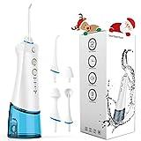 Irrigador Dental Portátil OYUNKEY Irrigador Bucal para limpiar los dientes y el cuidado bucal Tiene 3 Modos de uso y Tanque de agua desmontable de la capacidad del agua 200ml USB Recargable (Azul)