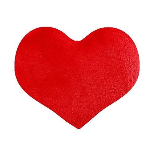 Vosarea Herz Dekokissen dekorative weiche Kissen gefüllt Plüsch Spielzeug für Sofa Couch Bett Auto Büro Home Decor Frau Mädchen (rot) 40x35 cm -