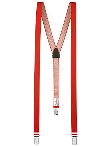 Xeira  Hochwertige Hosenträger reg; für Damen und Herren in vielen Trendigen Design - 3 Stabile Clips und 25mm Breit - Made in Germany (95cm, Rot)