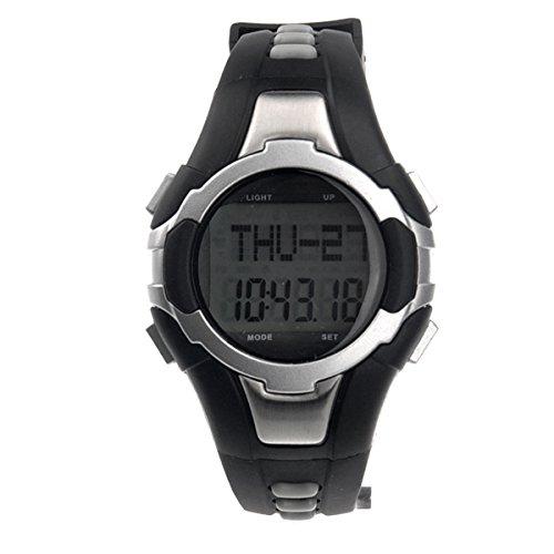 Foxnovo 1005 Wasserdicht Herzfrequenz-Monitor Pulsmesser digitale Uhr mit Schrittzähler Stoppuhr (Silber) -